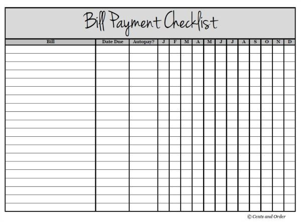 Free Printable Bill Payment Checklist   Bill Payment for Bill Payment Chart