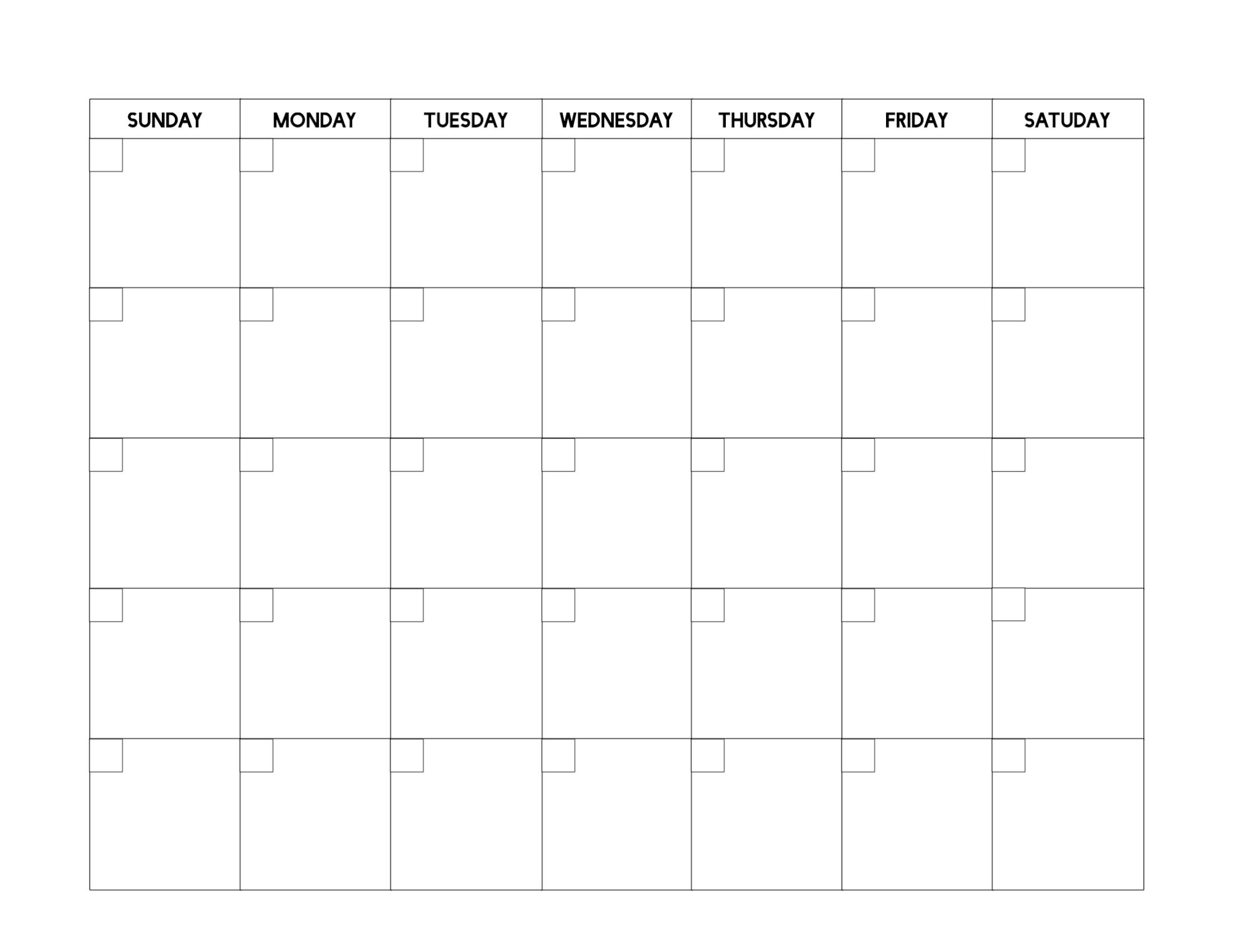 Free Printable Blank Calendar Template  Paper Trail Design intended for Blank 5 Day Calendar