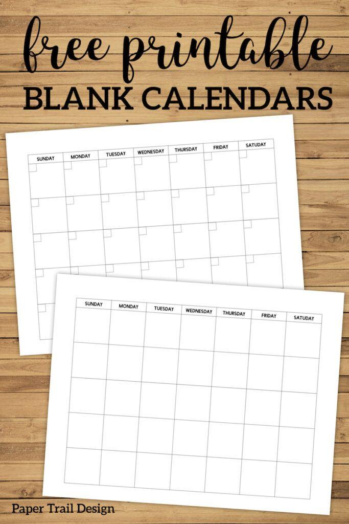 Free Printable Blank Calendar Template | Paper Trail inside Fill In The Blank Calendar