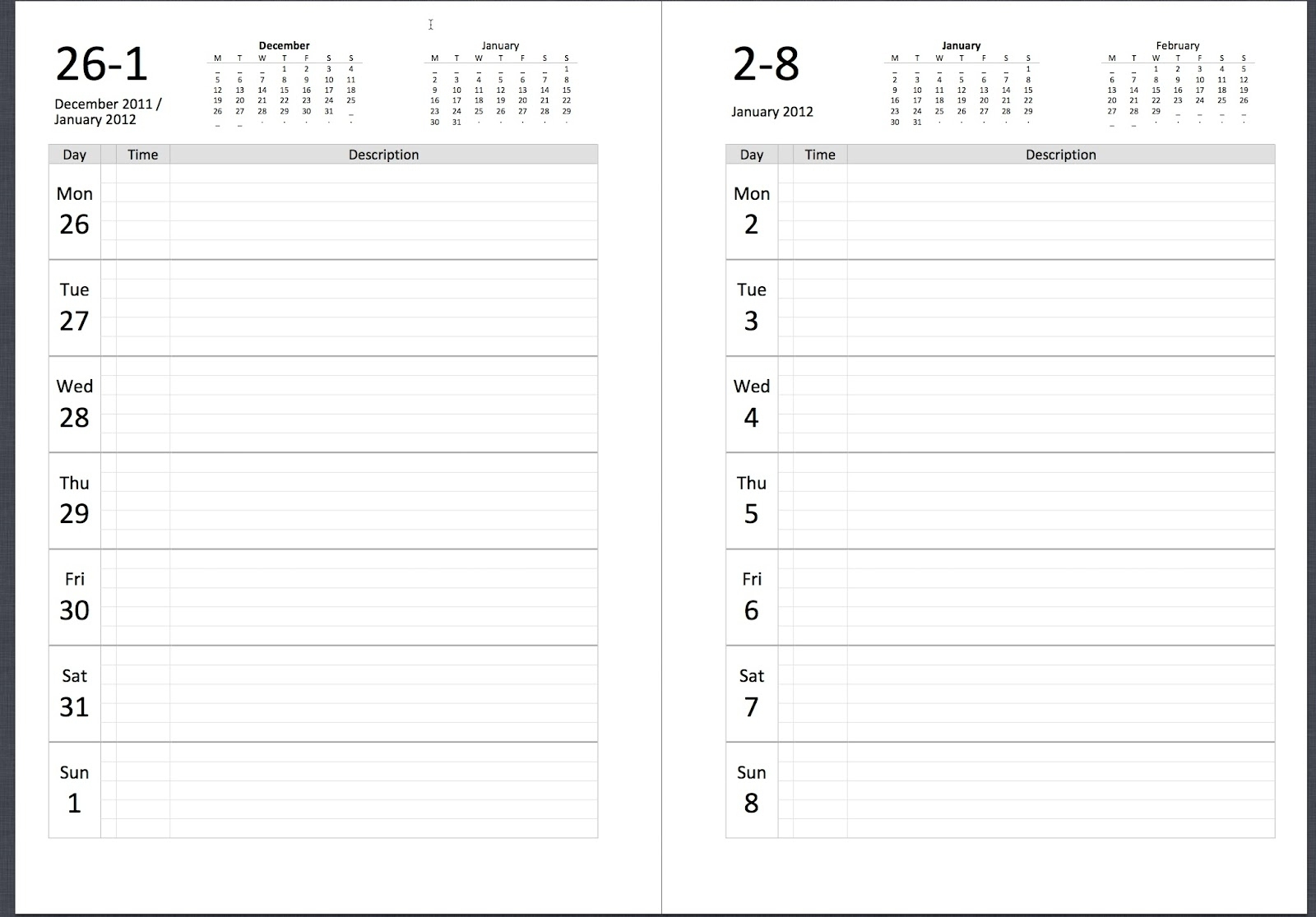 Free Printable Calendar One Week Per Page | Ten Free for One Week Calendar Template Word