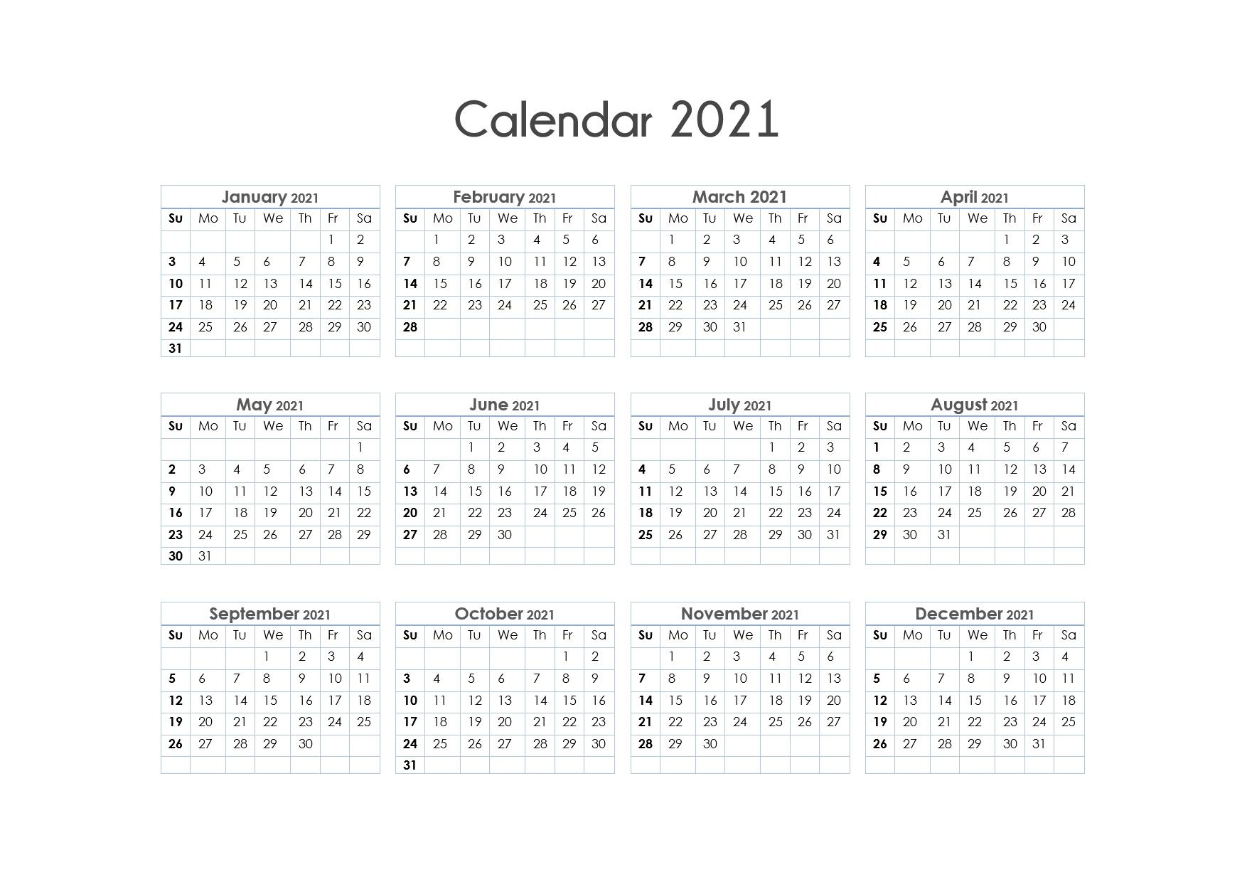 Free Printable Calendar Year 2021 | Month Calendar Printable intended for Free 3 Month Calendar One Page 2021