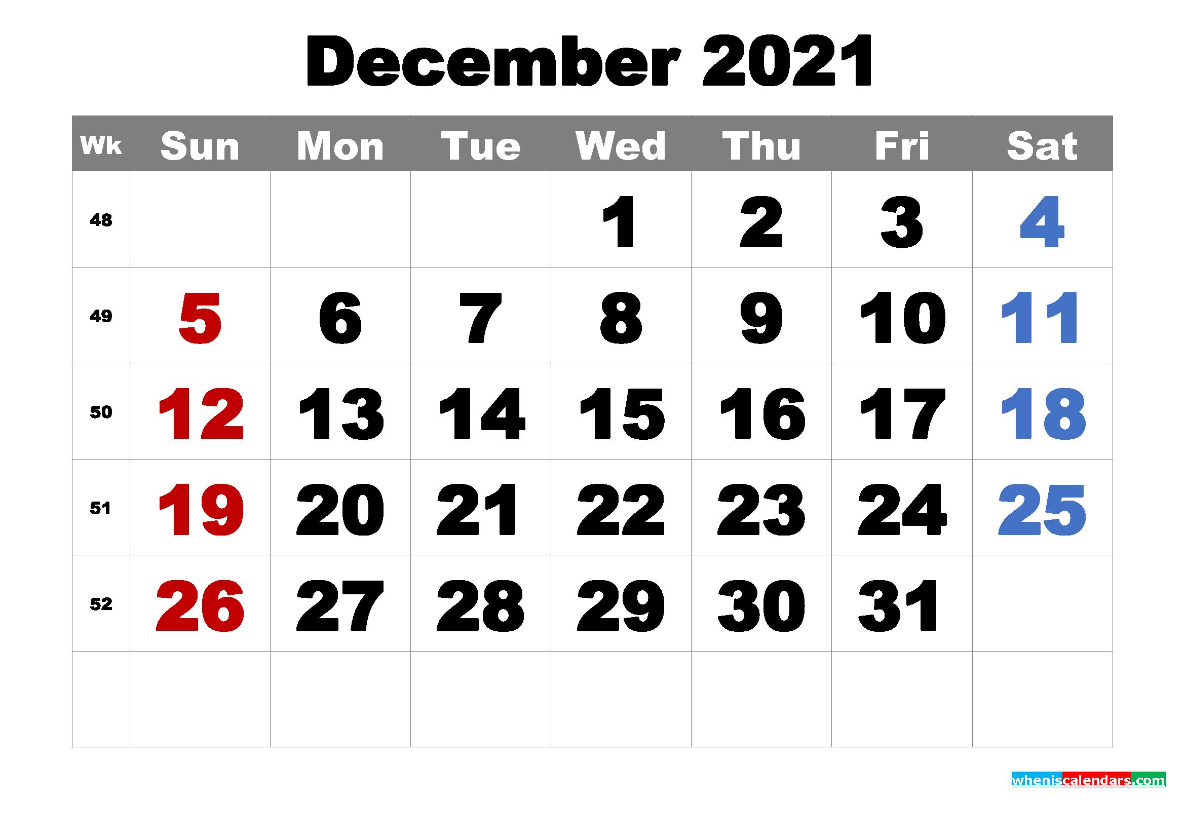 Free Printable December 2021 Calendar Word, Pdf, Image pertaining to 2021 Writable Calendars By Month