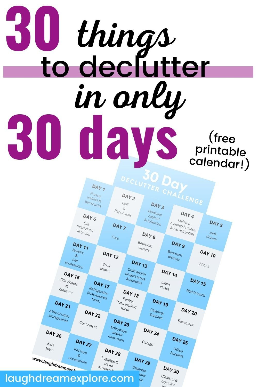 Free Printable Declutter Calendar! In 2020 | Declutter in 30 Day Declutter Challenge Calendar