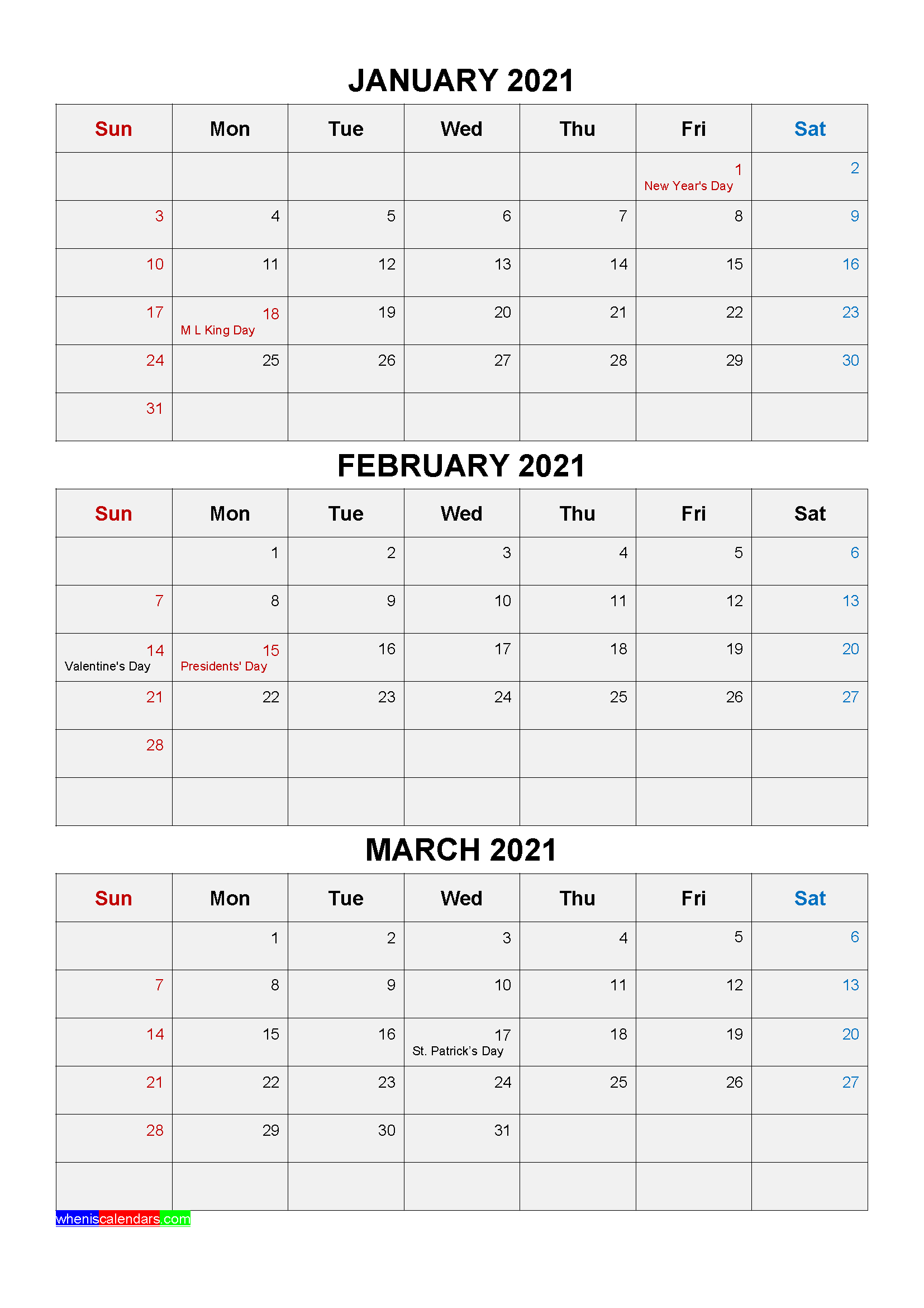 Free Printable January February March 2021 Calendar 3 within Three Month Printable Calendar 2021