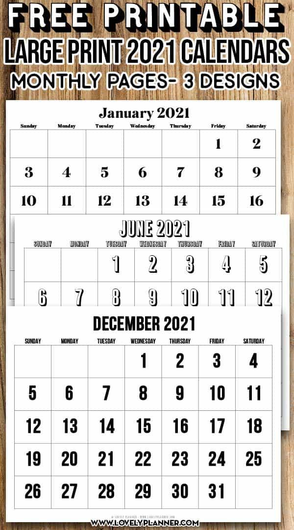 Free Printable Large Print 2021 Calendar 12 Month throughout Three Month Printable Calendar 2021