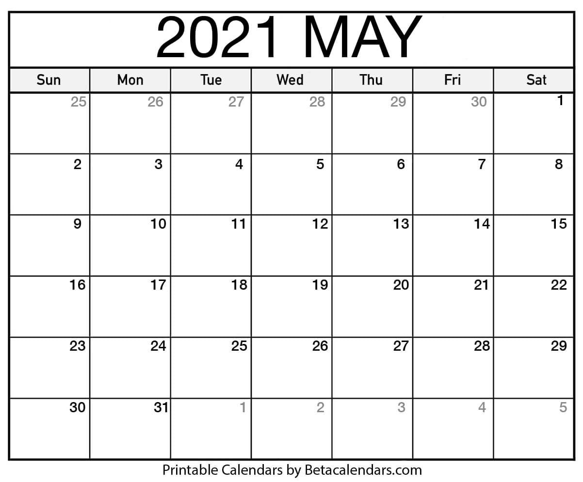 Free Printable May 2021 Calendar regarding Google Printable Monthly Calendar 2021
