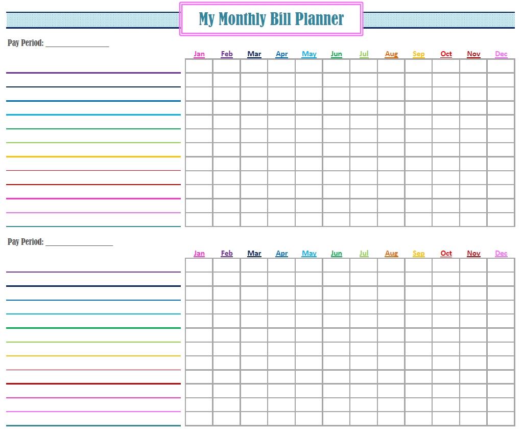 Free Printable Monthly Bills Chart   Calendar Template throughout Bill Payment Calendar Printable