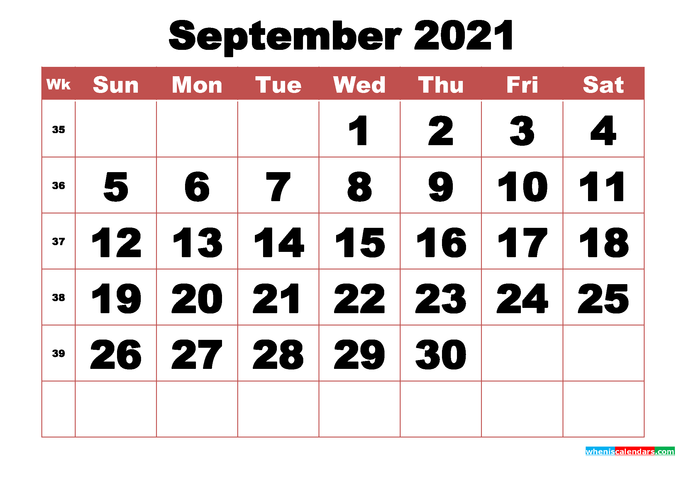 Free Printable September 2021 Calendar With Week Numbers throughout 3 Month Printable Calendar Templates For 2021