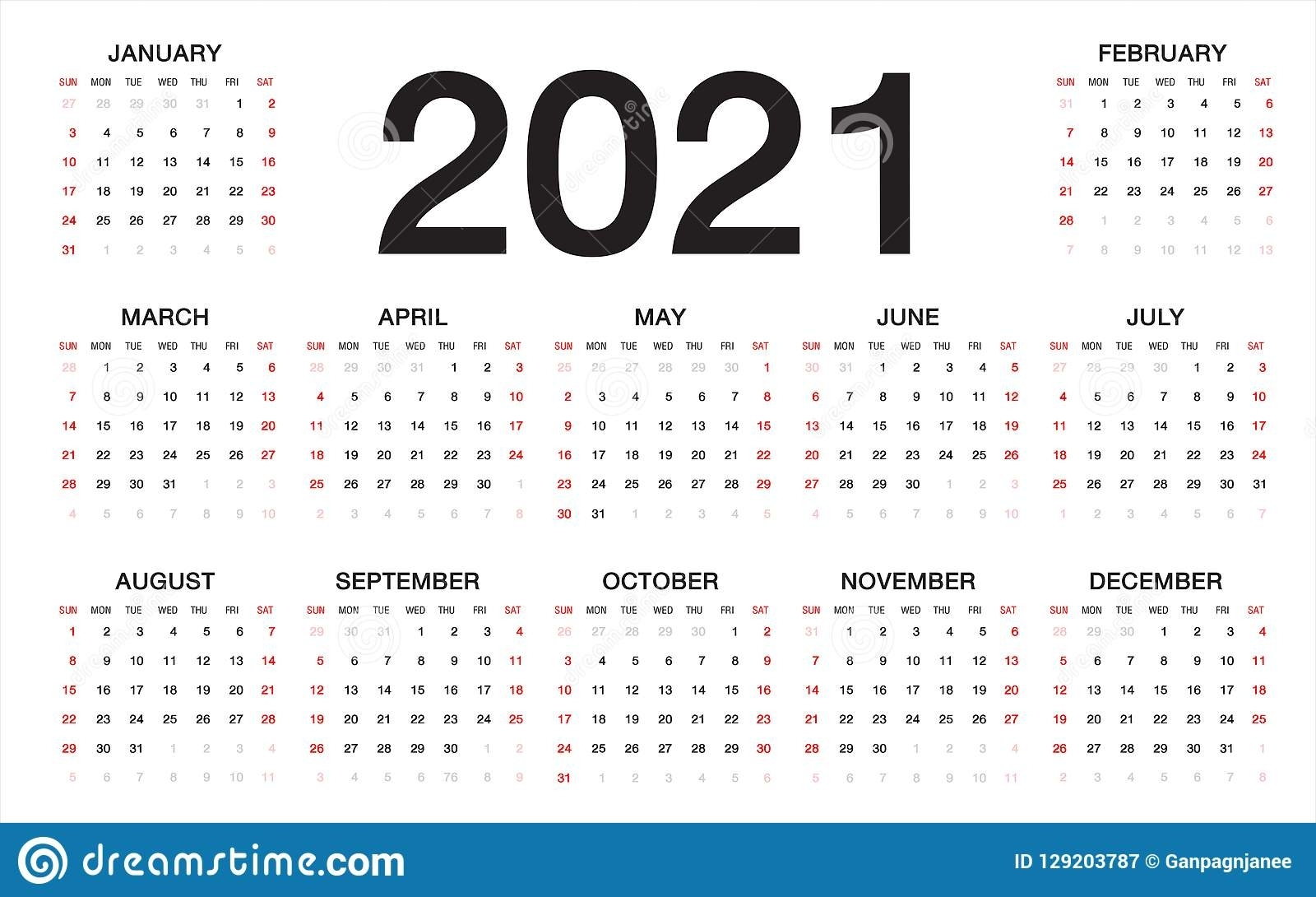 Free Printable Sunday Thru Saturday 2021 Calendar | Ten inside 2021 Writable Calendars By Month