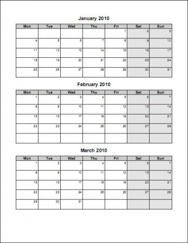 Free Printable Three Month Calendar  Template Calendar Design in Blank Printable Calendars 3 Month 2021