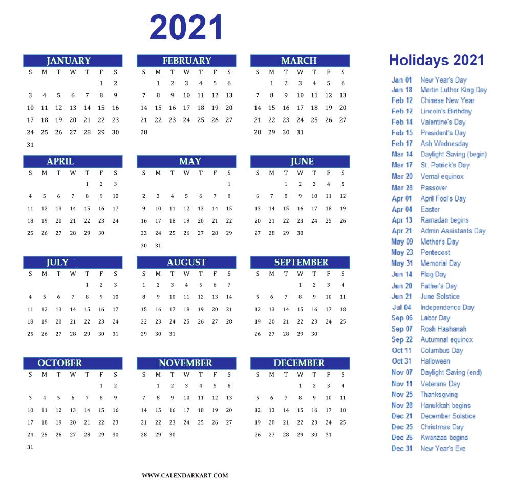Free Printable Year At A Glance Calendar 2021 intended for Year At A Glance Calendar Template