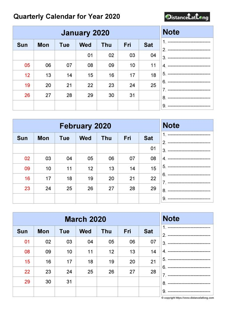 Free Quarterly Printable Blank Calendar With Note For with regard to Weekly Calendar Sunday To Saturday