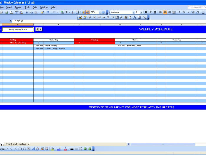Free Themes Store: Weekly Calendar  Free Excel Template in Calendar In Excel Template