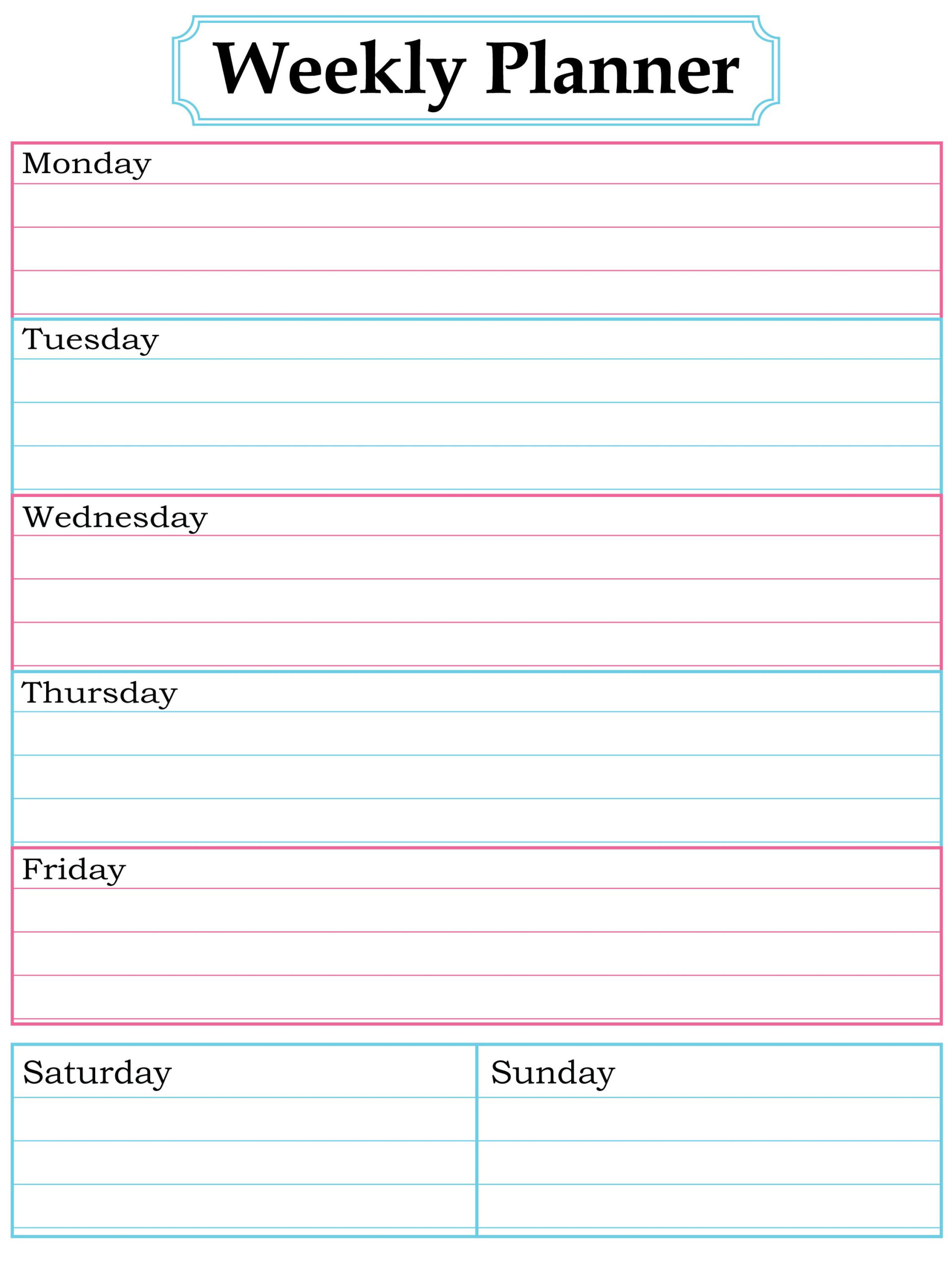 Free Weekly Planner   Weekly Planner Free, Free Printable with 7 Day Planner Template