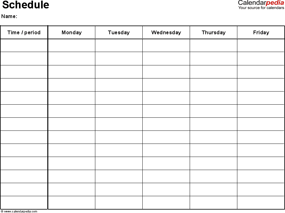 Free Weekly Schedule Templates For Excel  18 Templates | Homeschool Schedule Template, School throughout 5 Day Blank Calendar