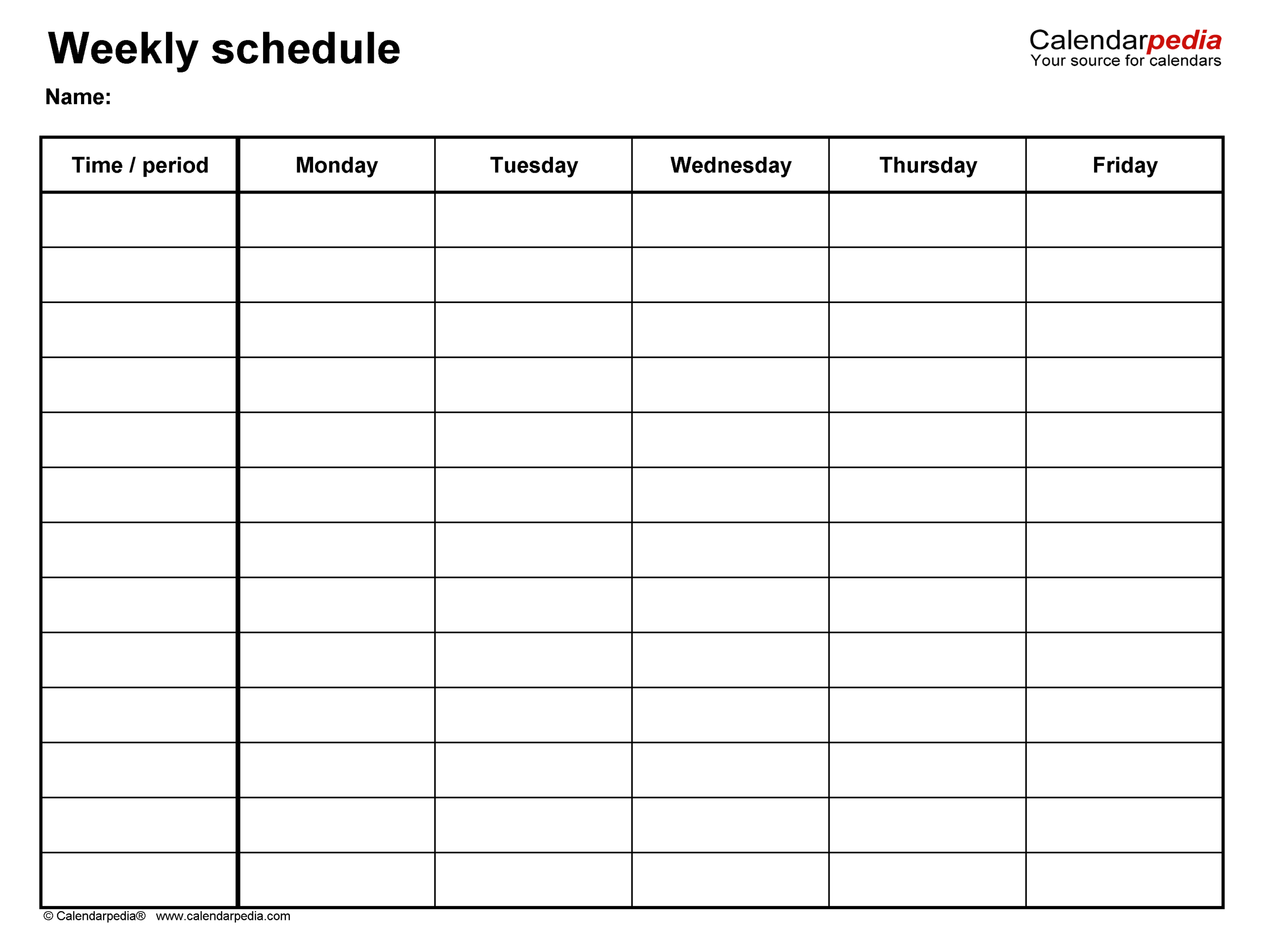 Free Weekly Schedules For Word  18 Templates for Blank 5 Day Calendar