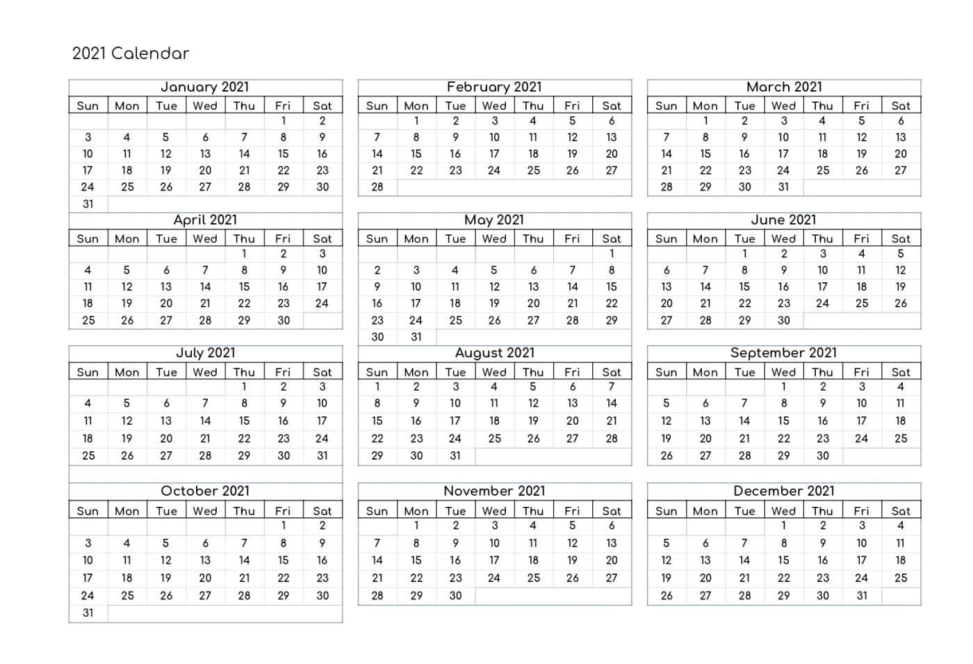 Free Yearly 2021 Calendar Printable Templates  Calendar Edu for 2021 Word Calendar Wincalendar