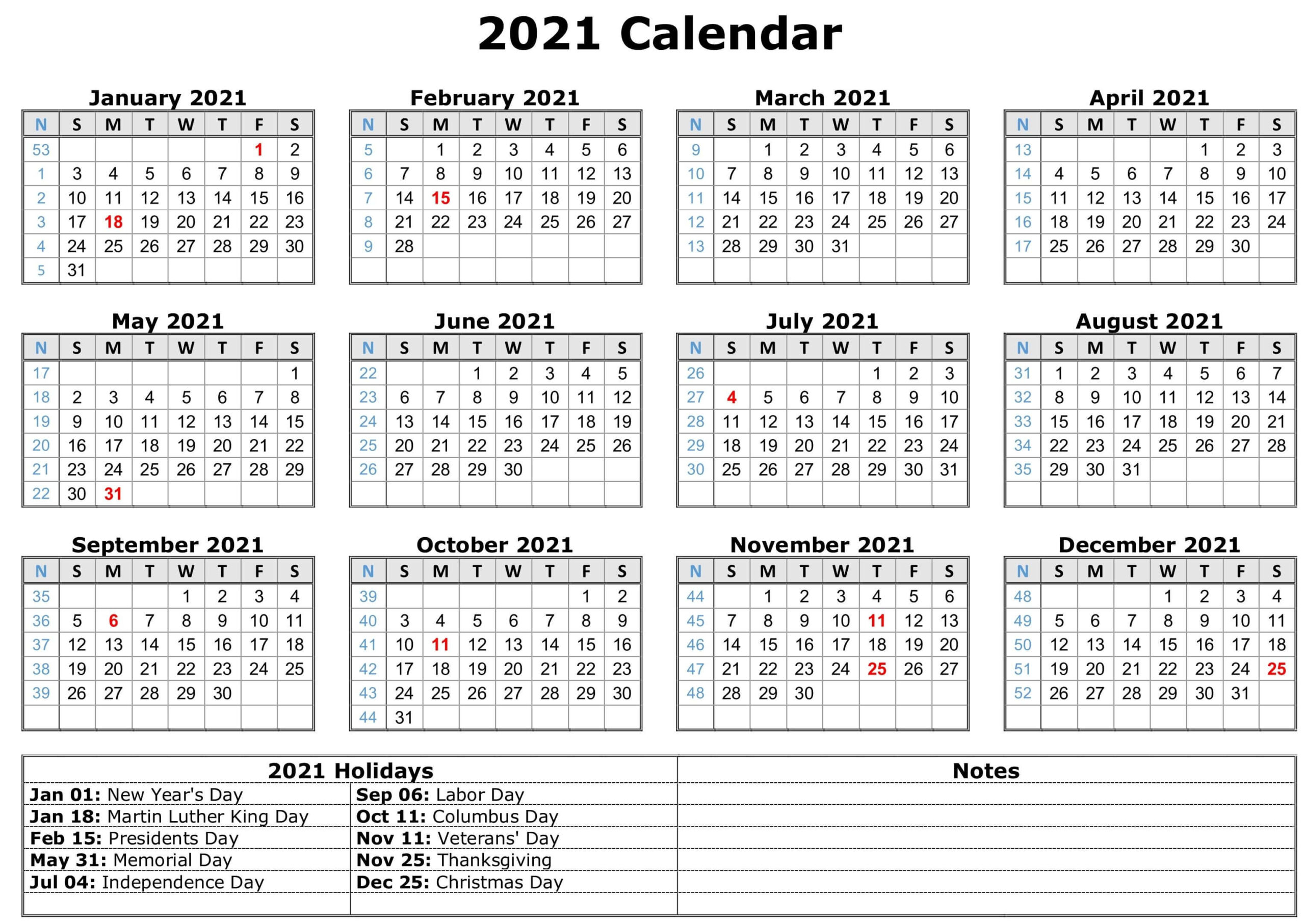 Free Yearly Printable Calendar 2021 With Holidays inside 2021 Writable Calendars By Month