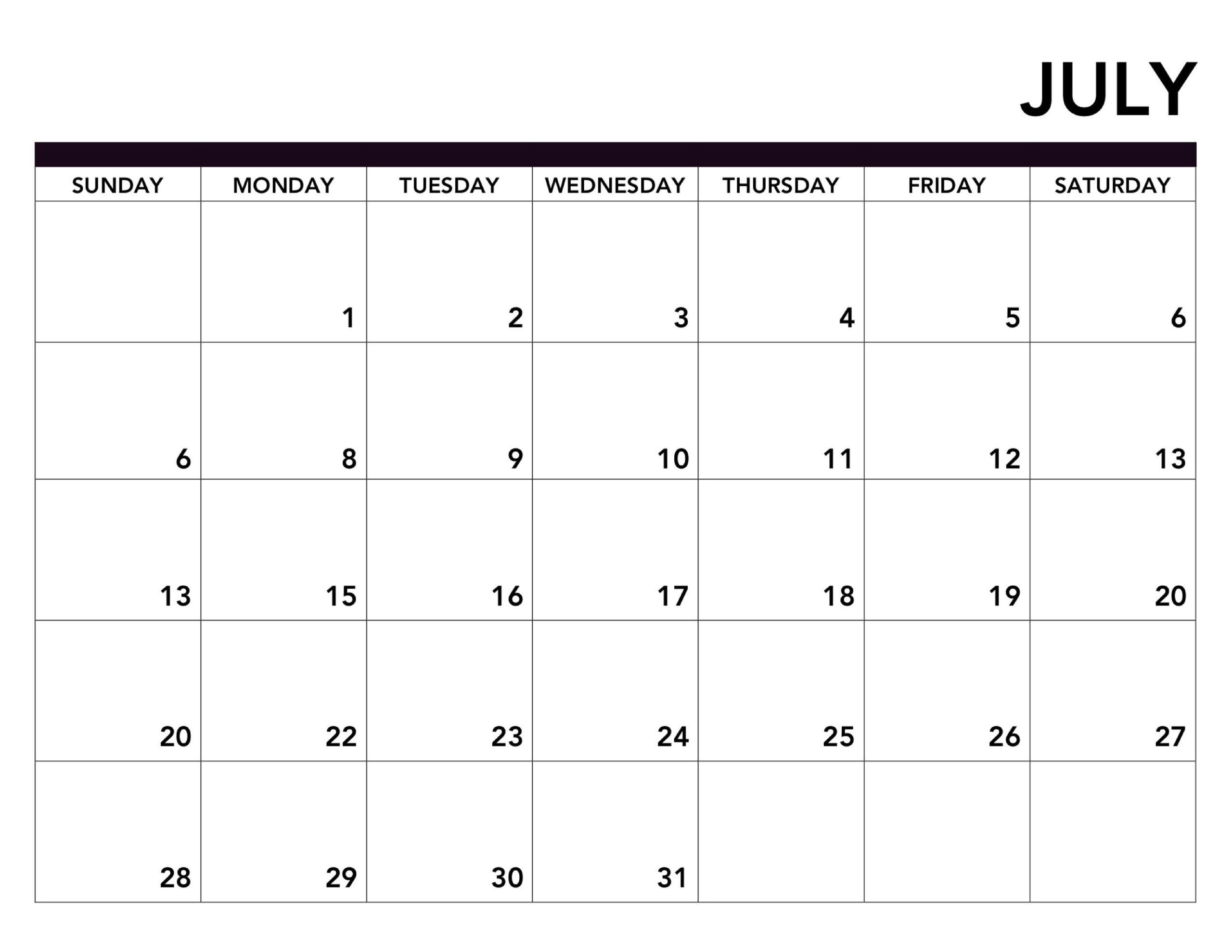 Full Page Printable Calendar  Template Calendar Design in Full Page Blank Calendar