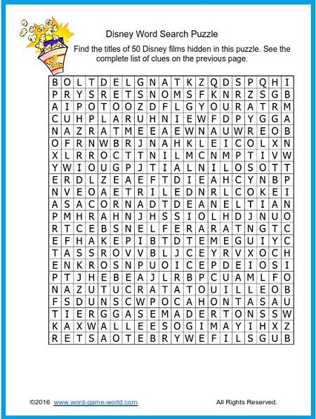 Fun Disney Word Search for Disney World Word Search