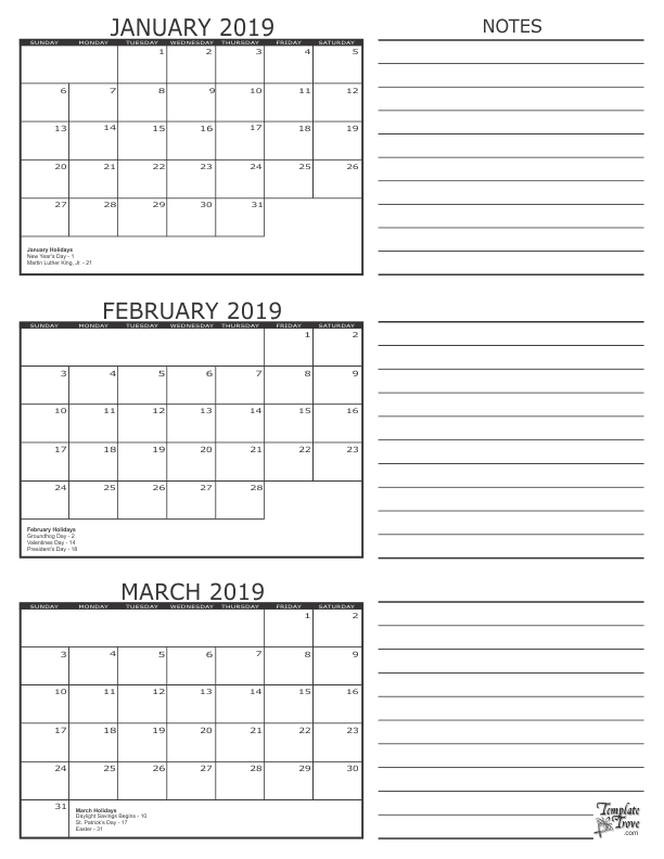 Get Free January And February 2020 Printable Calendar intended for Printable Three Month Calendar