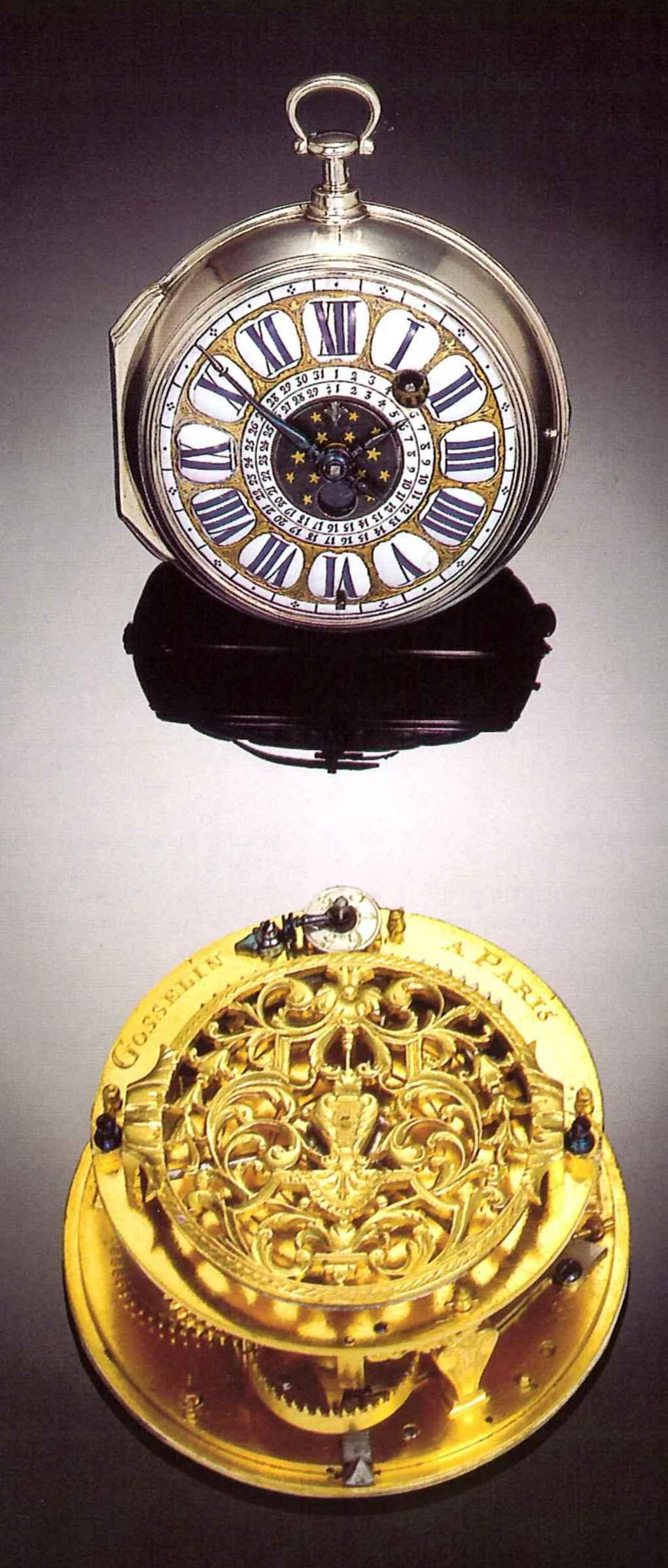 Gosselin À Paris, Circa 1710. Very Rare, Silver Moon Phase in Lunar Calendar For Cockfighting