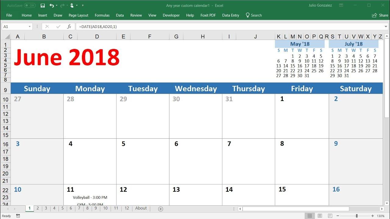 How To Create A Calendar In Excel 2016  Very Easy regarding Calendar Maker For Mac