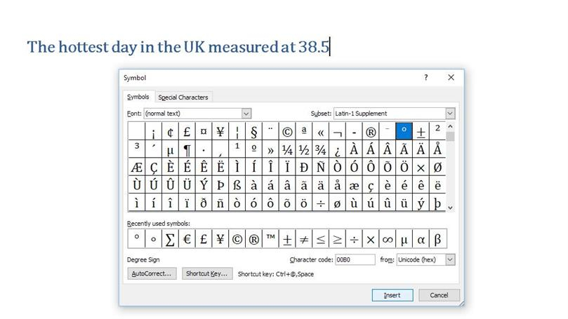 How To Make Degree Symbol On Keyboard? in Wingdings Calendar Symbol