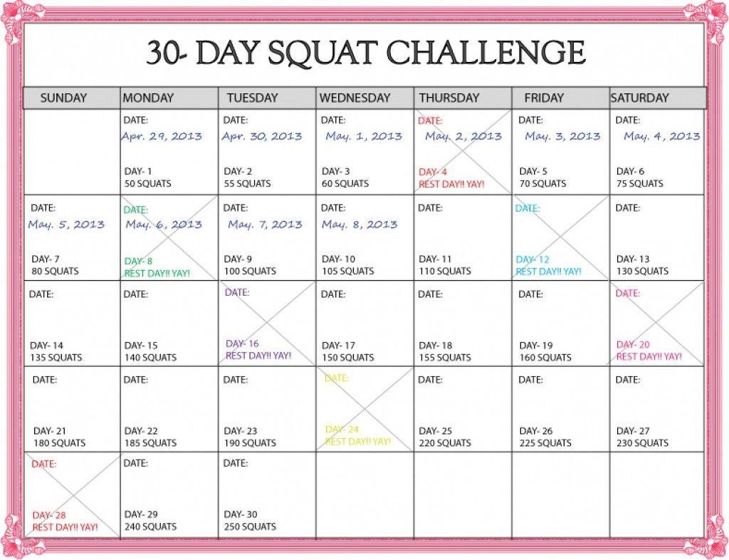 Https:www.30Day Squat Calendar  Calendar Template 2020 inside 30 Days Calendar Template