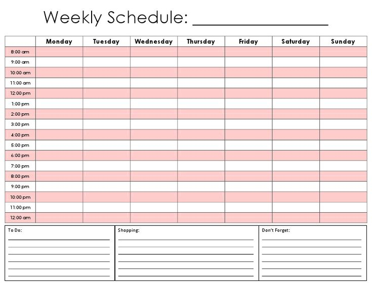 Image Result For 12 Hour Weekly Schedule Template | Hourly throughout 12 Week Planner Template