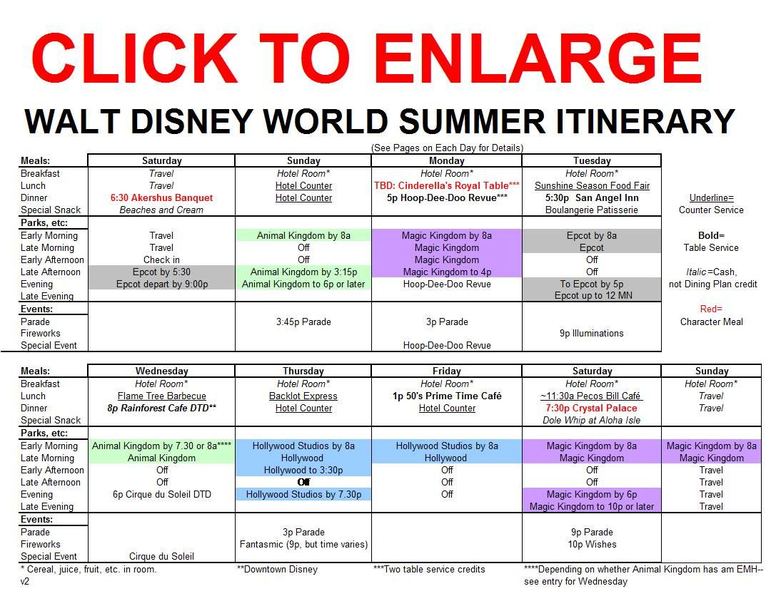 Image Result For Disney World Itinerary Template within Disneyland Itinerary Template