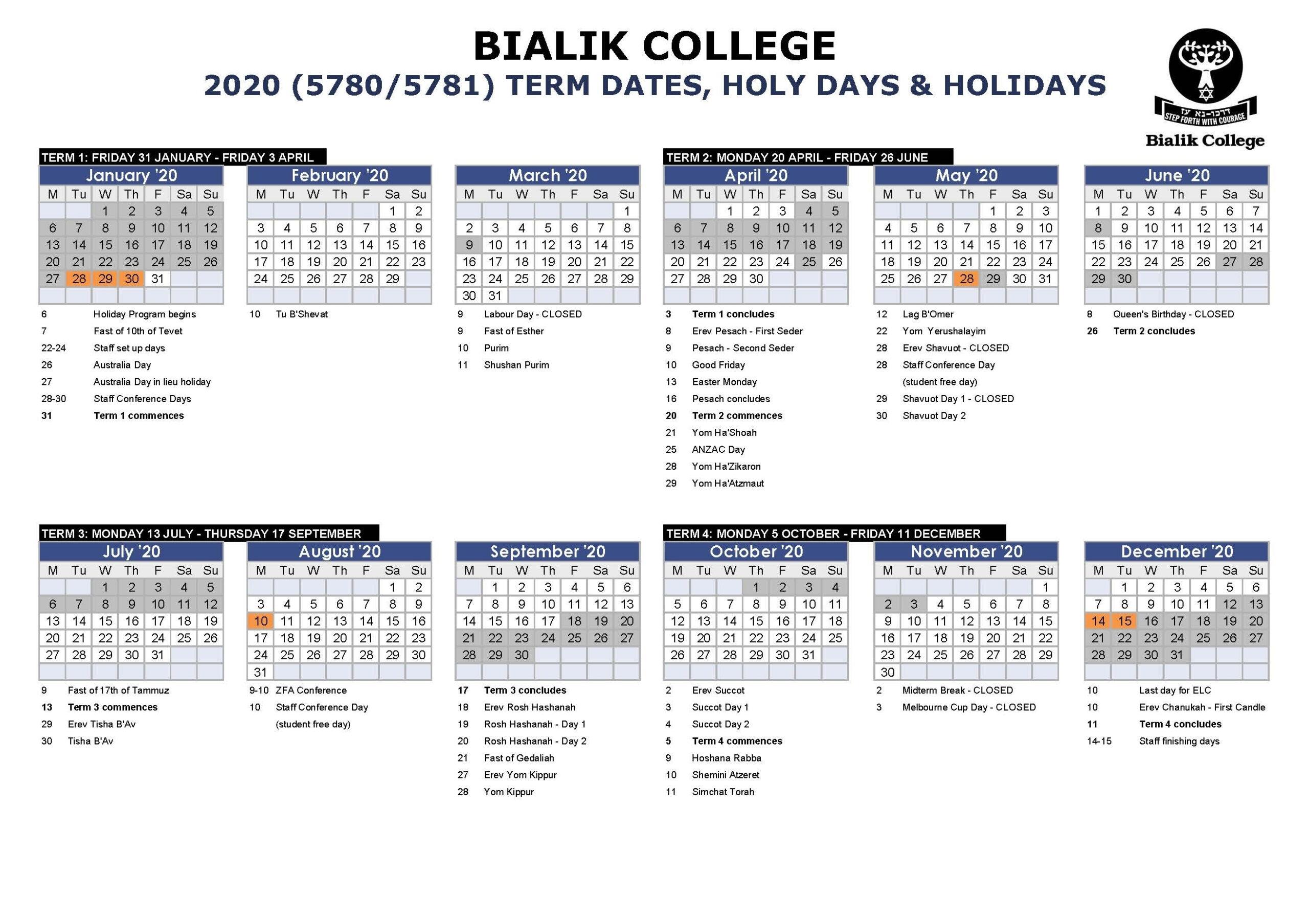 Impressive 2020 School Calendar Vic • Printable Blank regarding Ocsb School Year Calendar