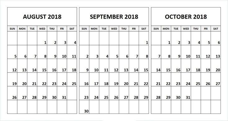 Incredible 3 Month Blank Calendar Template   September inside Blank 3 Month Calendar