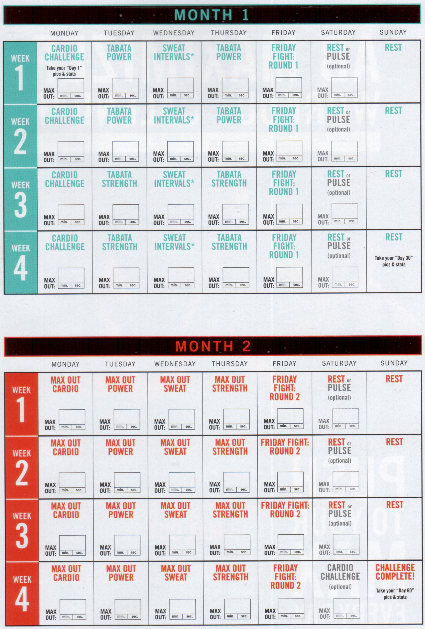 Insanity 3 Month Calendar  Example Calendar Printable with Insanity Max 30 Schedule Month 2