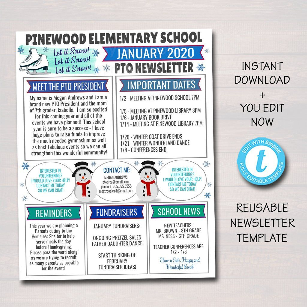 January Pto Pta Newsletter Flyer, Winter Printable Handout pertaining to Free Pto Calendar Templates