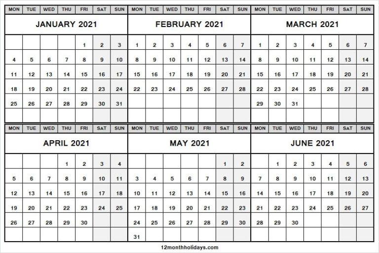 January To June 2021 Calendar Printable Free  Six Month throughout June 2021 Printable Monthly Calendar With Lines