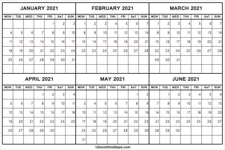 January To June 2021 Calendar Printable Free  Six Month within June 2021 Printable Monthly Calendar With Lines