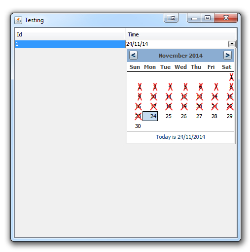 Java  Setting A Minimum Date For Jxdatepicker In A Jtable with regard to Swing Date Picker