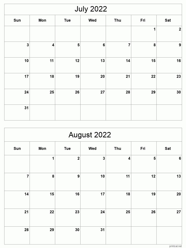 Julaug 2022 Printable Calendar   Two Months Per Page pertaining to Print 2 Month Calendar