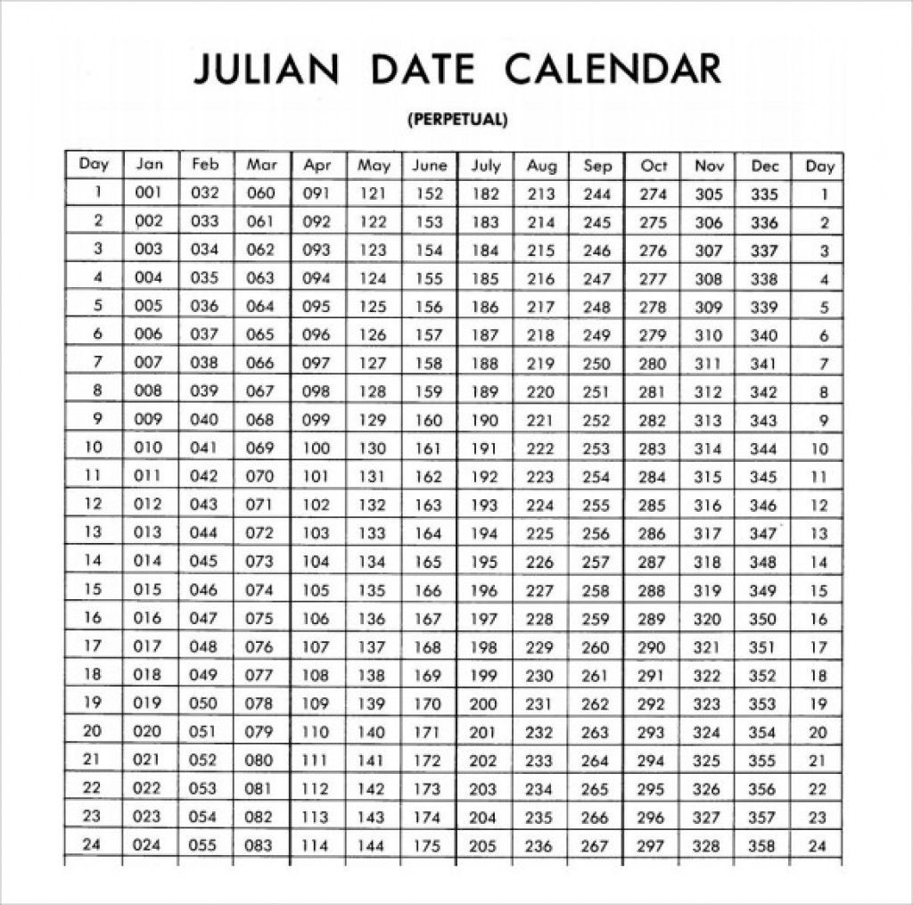 Julian Date Calender For Leap Years Printable  Calendar in Julian Calendar Leap Year Pdf