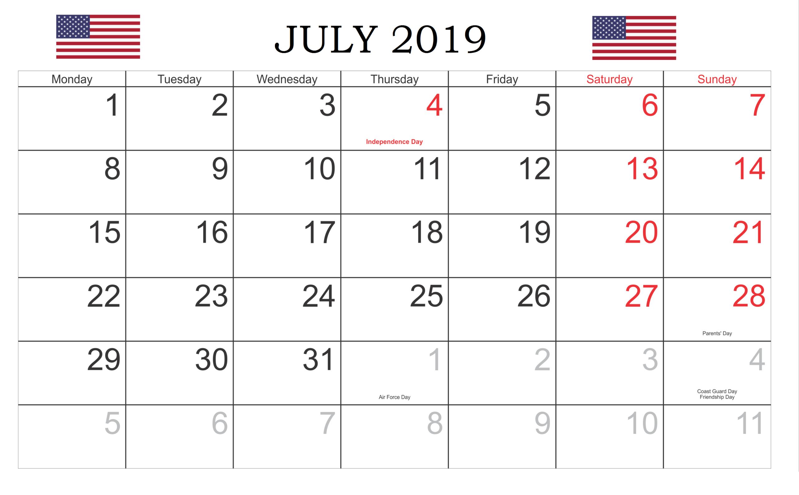 July 2019 Usa Holidays Calendar  Local And Federal regarding Federal Holidays 2025