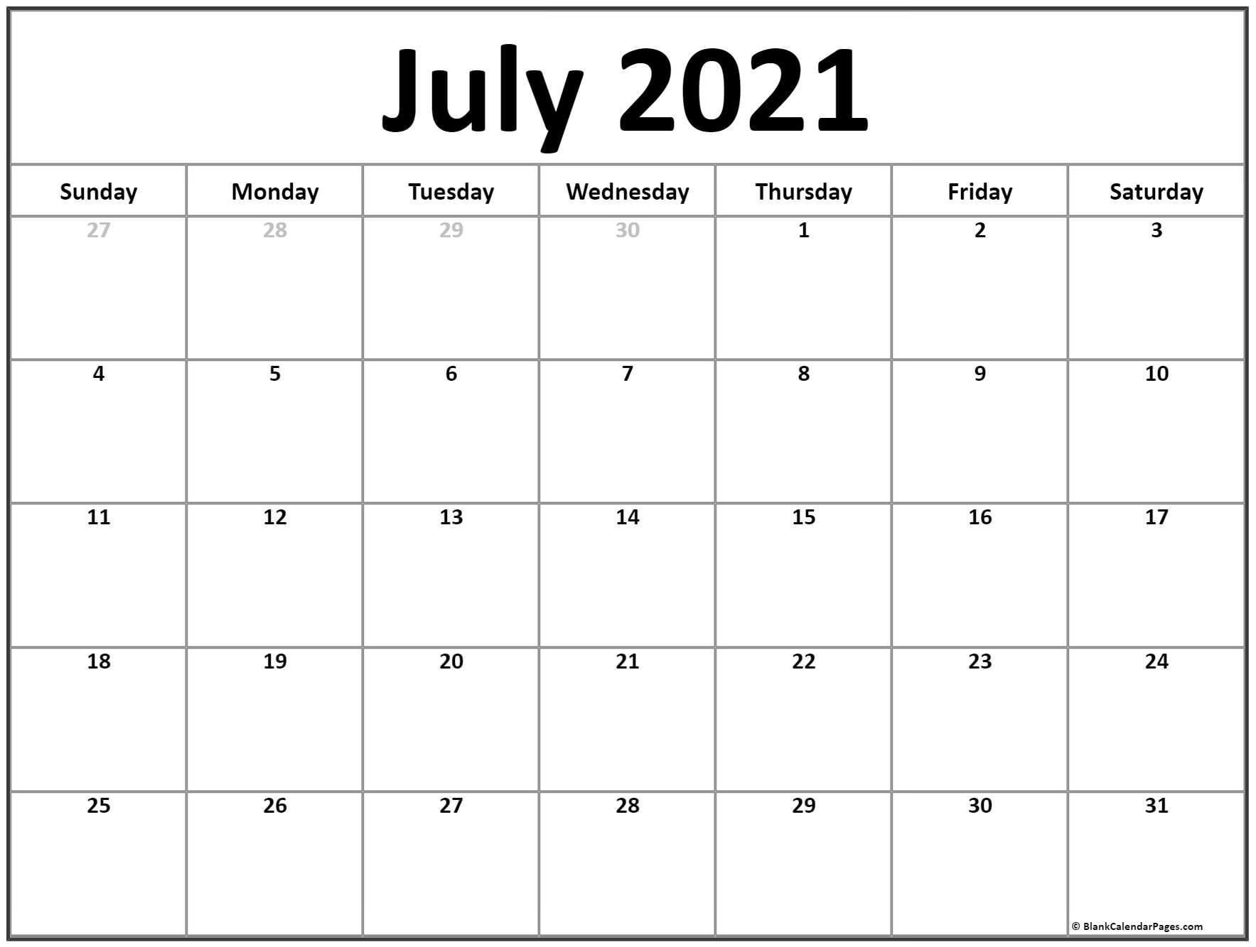 July 2021 Calendar   Free Printable Calendar Templates throughout 3 Month Blank Printable Calendar 2021