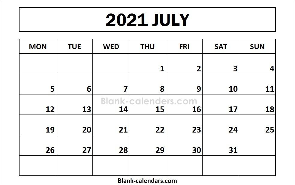 July 2021 Calendar Monday Start Format | Blank 2021 inside 2021 Calendar Excel Start Monday