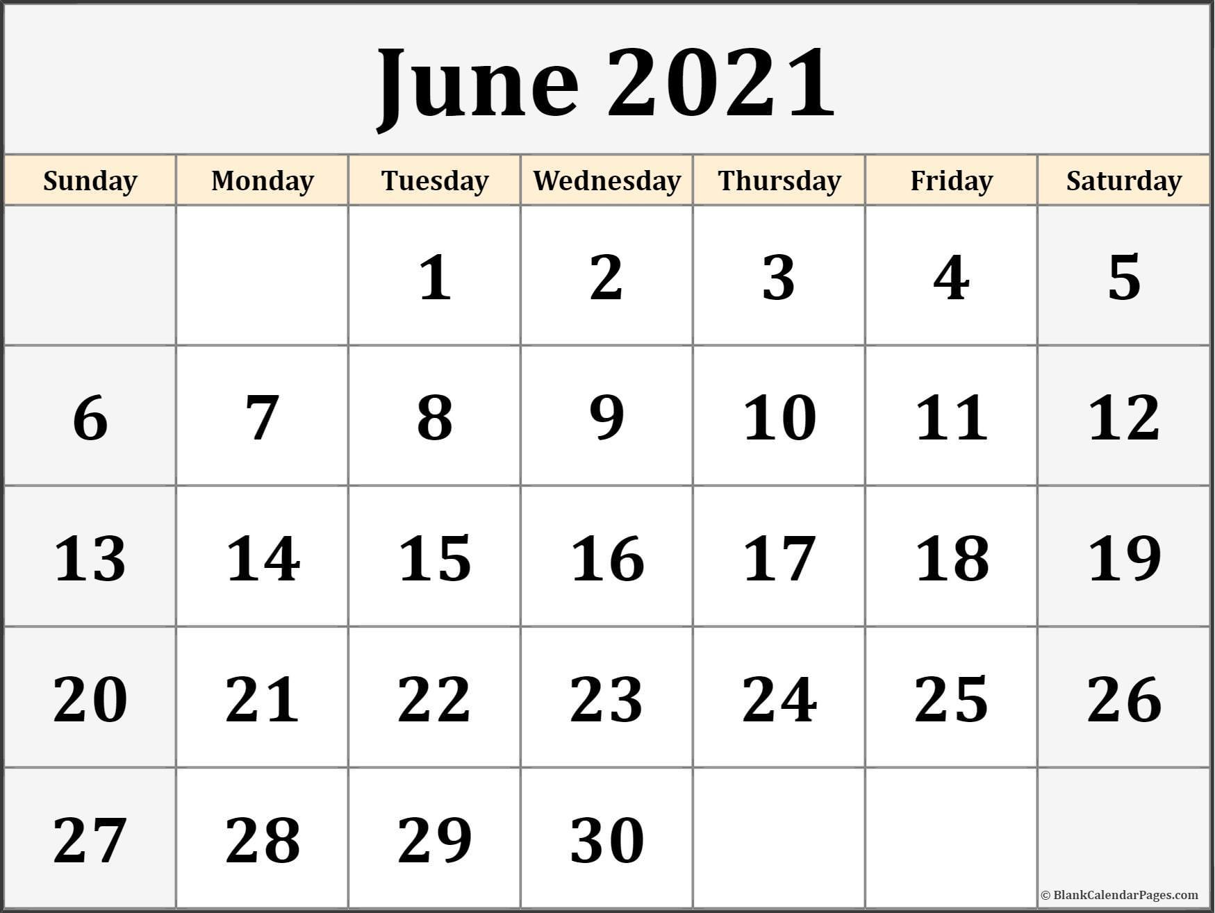 June 2021 Calendar | Free Printable Calendar Templates pertaining to 2021 Writable Calendars By Month