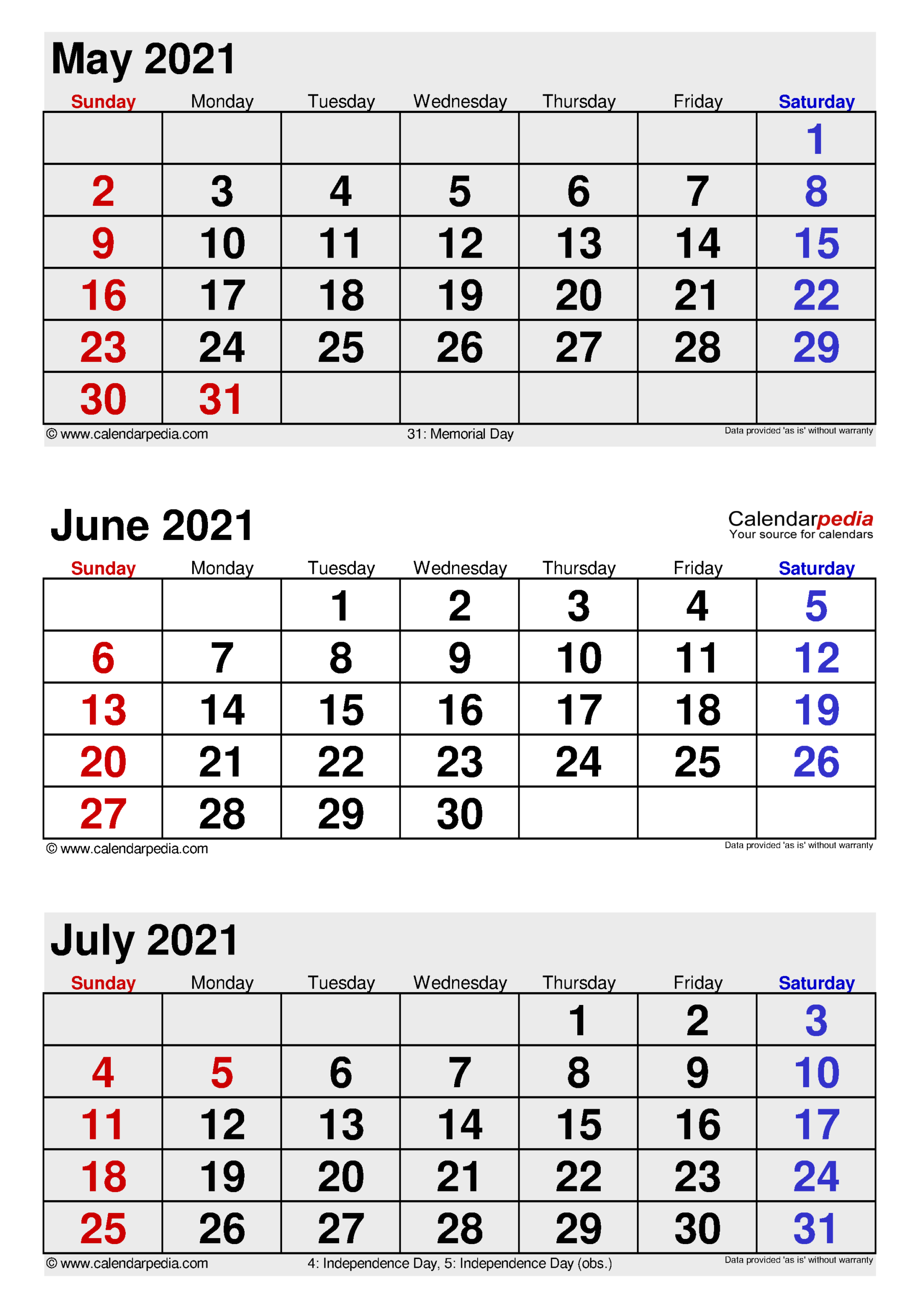 June 2021 Calendar   Templates For Word, Excel And Pdf in Three Month Printable Calendar 2021