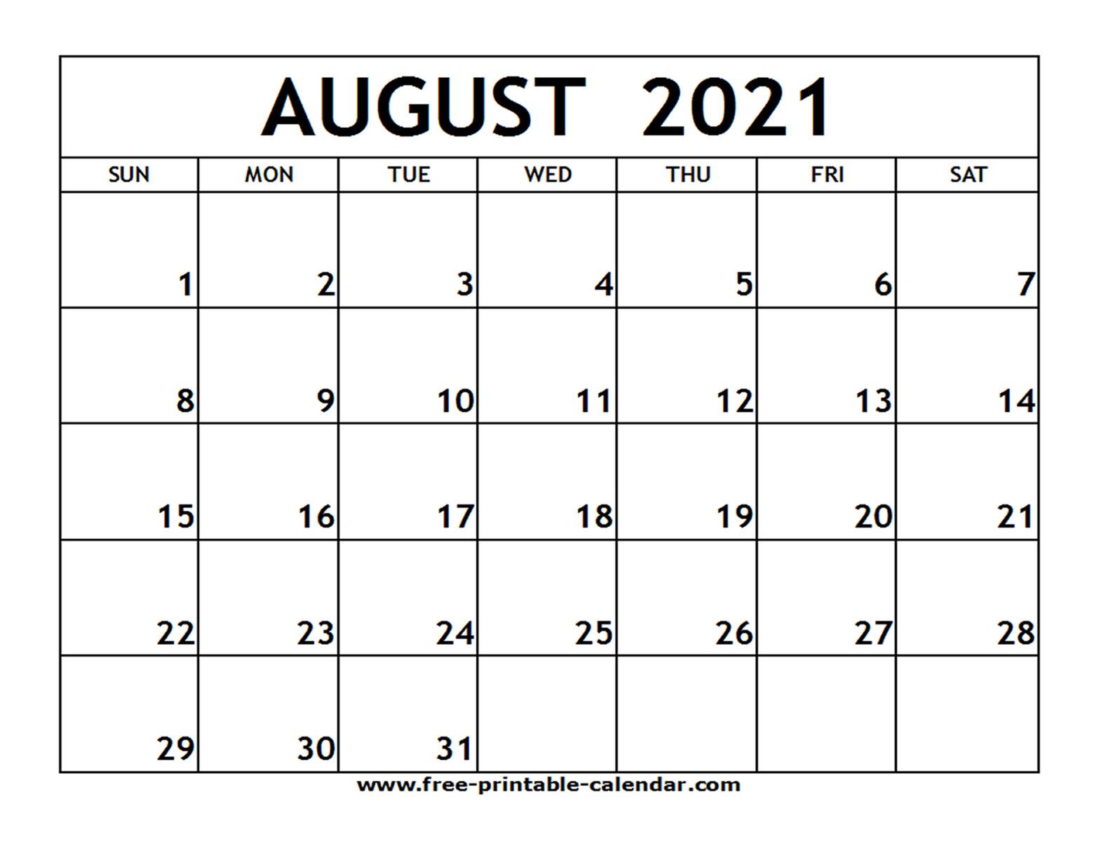 June July Aug 2021 Printable Calanders   Calendar for August 2021 Calendar Print