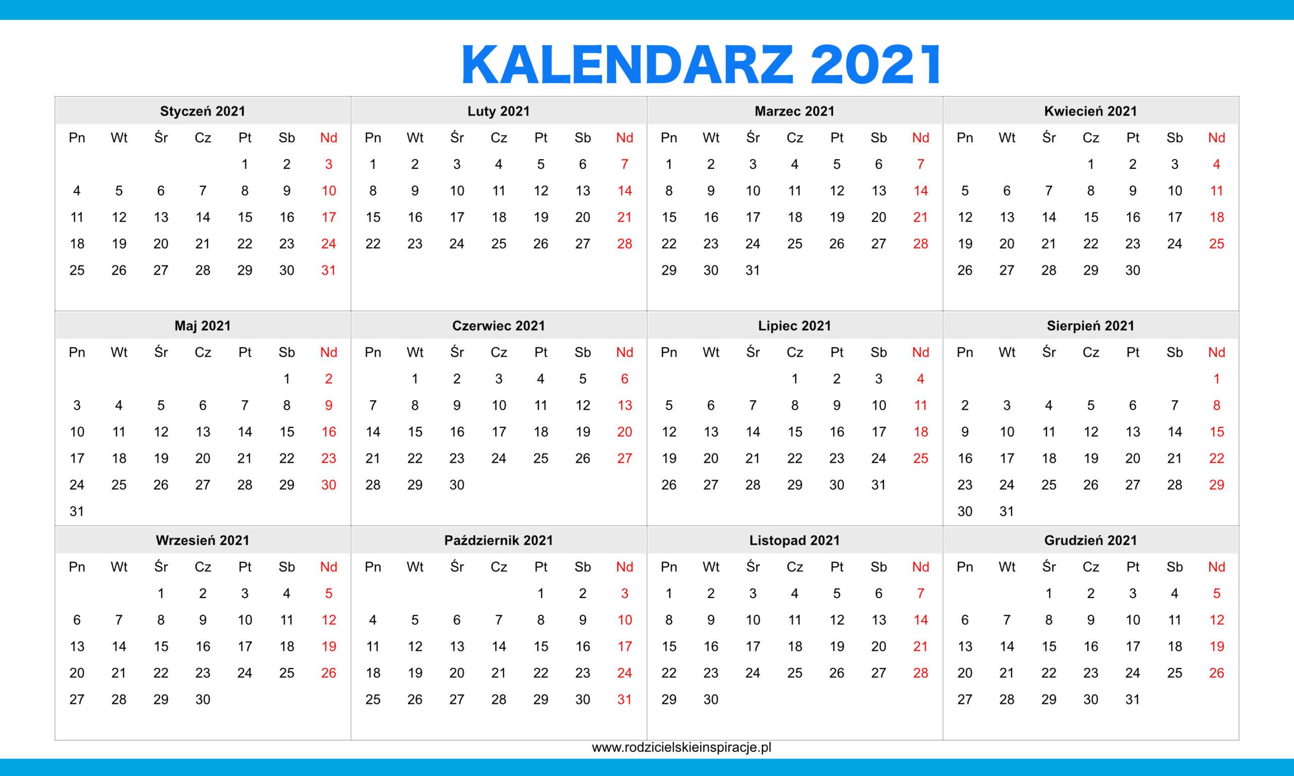 Kalendarz 2021 Rok Do Druku [Pdf] | Rodzicielskieinspiracje.pl for Kalendarz Roczny 2021 2021