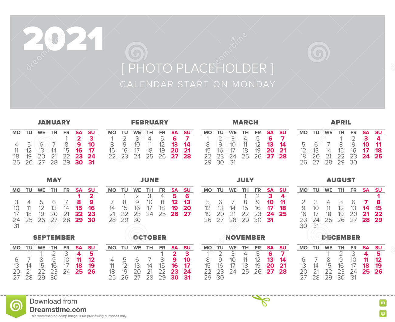 Kalendarz 2021 Roku Projekta Wektorowy Szablon Ilustracja regarding Kalendarz Roczny 2021 2021