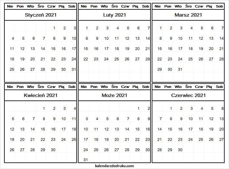 Kalendarz Styczeń Do Czerwiec 2021 Do Edycji Archives with regard to Kalendarz Roczny 2021 2021