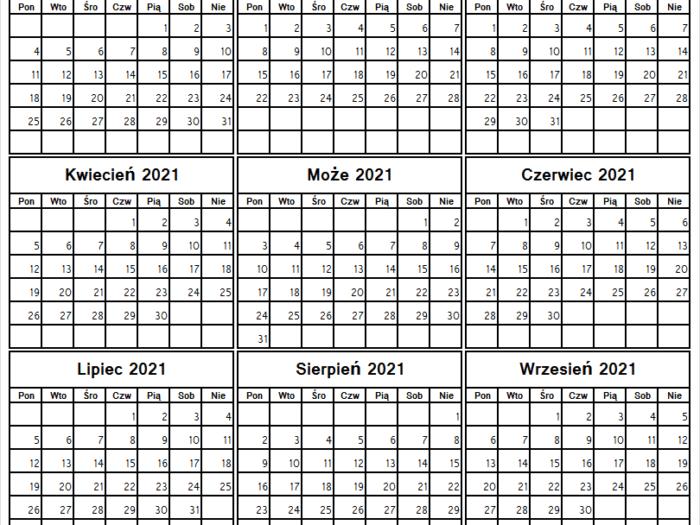 Kalendarz Styczeń Do Wrzesień 2021 Planer  Kalendarz 2021 within Kalendarz Roczny 2021 2021